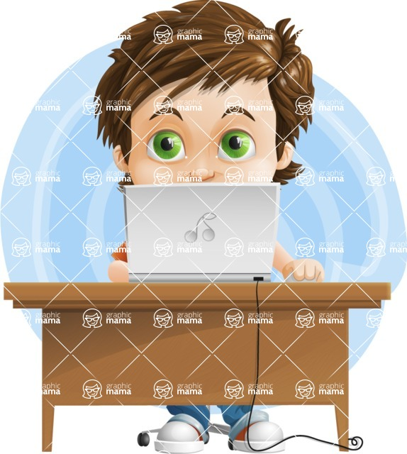 Cool Boy Cartoon Vector Character AKA Jamie Just-Chill - Shape 8