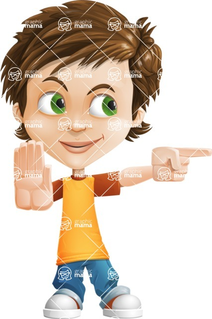 Cool Boy Cartoon Vector Character AKA Jamie Just-Chill - Direct Attention 2