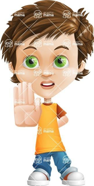 Cool Boy Cartoon Vector Character AKA Jamie Just-Chill - Stop