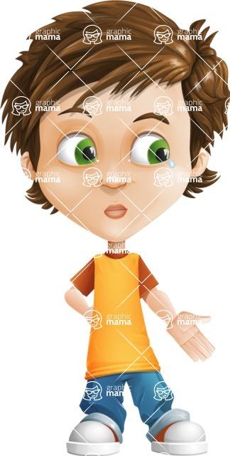 Cool Boy Cartoon Vector Character AKA Jamie Just-Chill - Sad 2