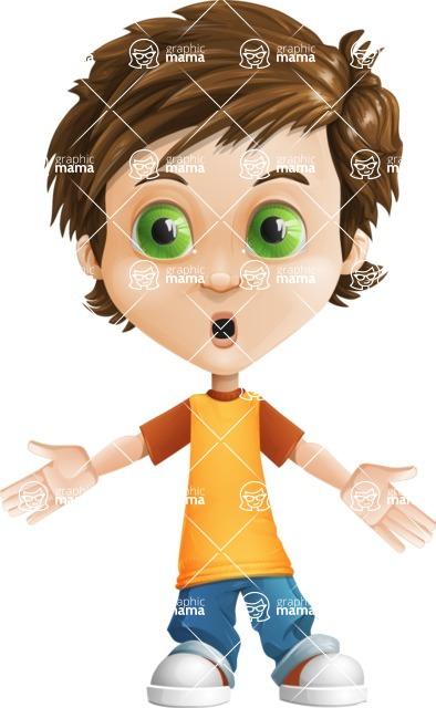 Cool Boy Cartoon Vector Character AKA Jamie Just-Chill - Shocked