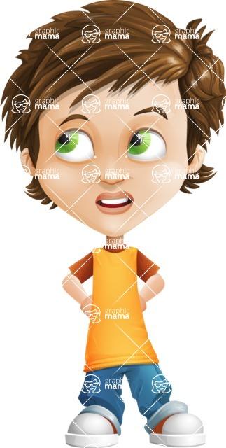 Cool Boy Cartoon Vector Character AKA Jamie Just-Chill - Roll Eyes