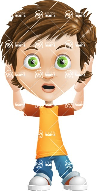 Cool Boy Cartoon Vector Character AKA Jamie Just-Chill - Confused