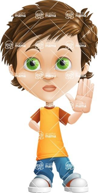 Cool Boy Cartoon Vector Character AKA Jamie Just-Chill - Good Bye
