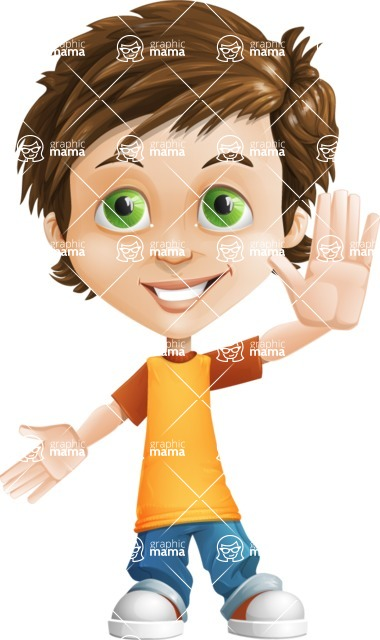 Cool Boy Cartoon Vector Character AKA Jamie Just-Chill - Hello