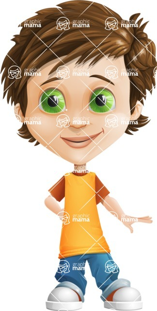 Cool Boy Cartoon Vector Character AKA Jamie Just-Chill - Oops