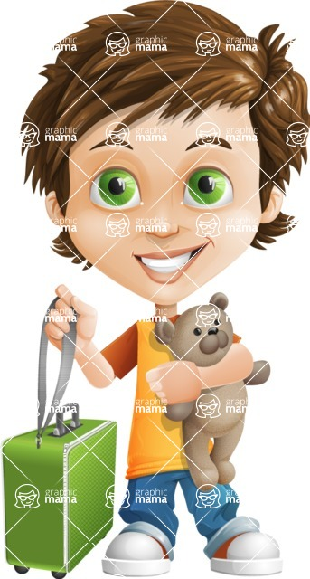 Cool Boy Cartoon Vector Character AKA Jamie Just-Chill - Travel