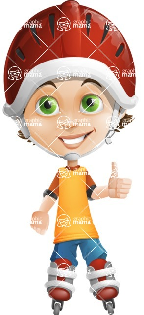 Cool Boy Cartoon Vector Character AKA Jamie Just-Chill - Inline Skate