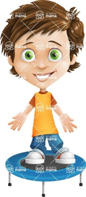 Cool Boy Cartoon Vector Character AKA Jamie Just-Chill - Trampoline