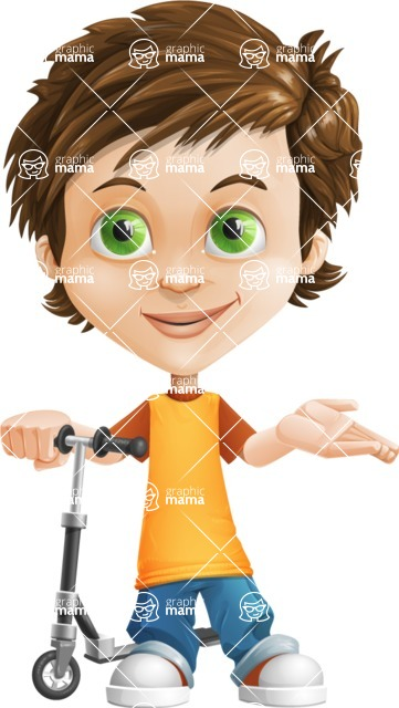 Cool Boy Cartoon Vector Character AKA Jamie Just-Chill - Scooter