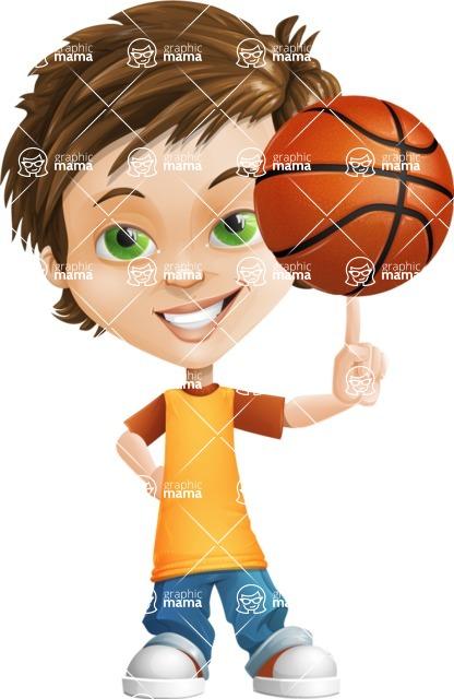 Cool Boy Cartoon Vector Character AKA Jamie Just-Chill - Basketball