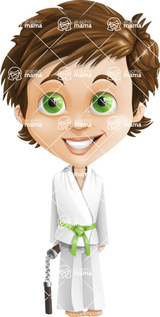 Cool Boy Cartoon Vector Character AKA Jamie Just-Chill - Karate