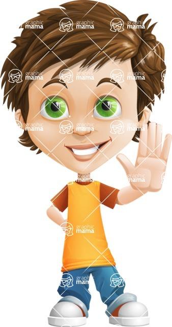 Cool Boy Cartoon Vector Character AKA Jamie Just-Chill - Wave