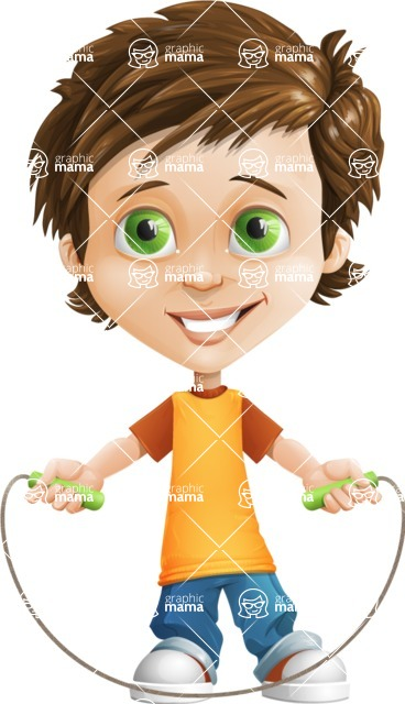Cool Boy Cartoon Vector Character AKA Jamie Just-Chill - Skipping Rope
