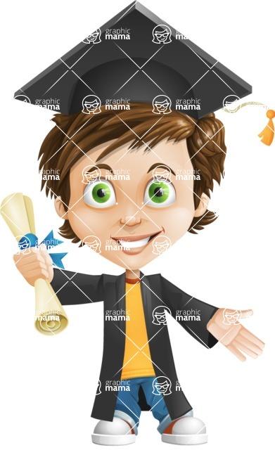 Cool Boy Cartoon Vector Character AKA Jamie Just-Chill - Graduate