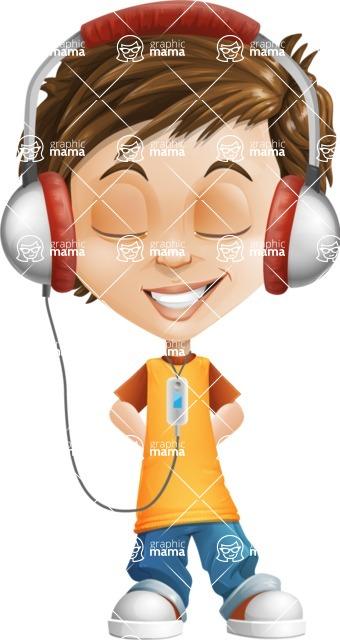 Cool Boy Cartoon Vector Character AKA Jamie Just-Chill - Music 3