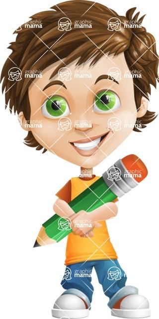 Cool Boy Cartoon Vector Character AKA Jamie Just-Chill - Pencil