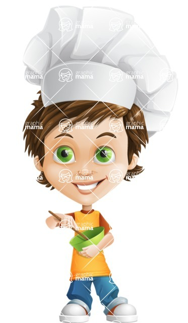 Cool Boy Cartoon Vector Character AKA Jamie Just-Chill - Cooking
