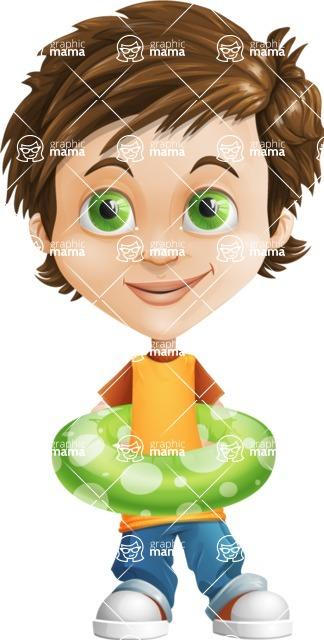 Cool Boy Cartoon Vector Character AKA Jamie Just-Chill - Beach 2