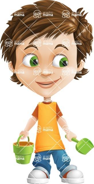 Cool Boy Cartoon Vector Character AKA Jamie Just-Chill - Beach 3