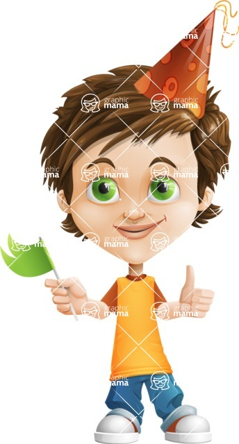 Cool Boy Cartoon Vector Character AKA Jamie Just-Chill - Party 1