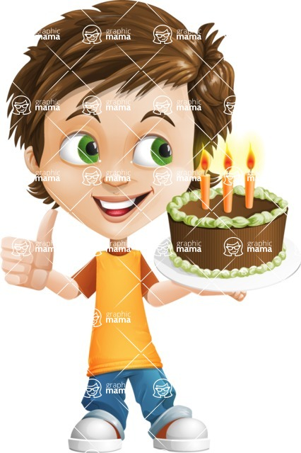 Cool Boy Cartoon Vector Character AKA Jamie Just-Chill - Party 2