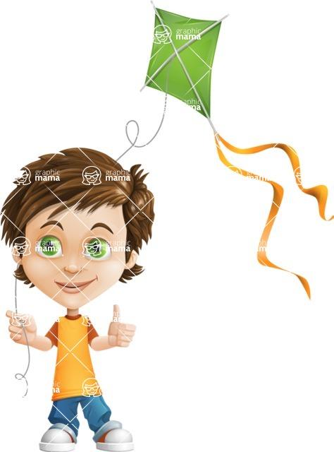 Cool Boy Cartoon Vector Character AKA Jamie Just-Chill - Kite