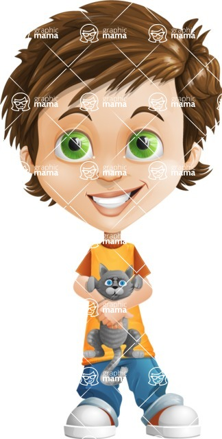 Cool Boy Cartoon Vector Character AKA Jamie Just-Chill - Kitty
