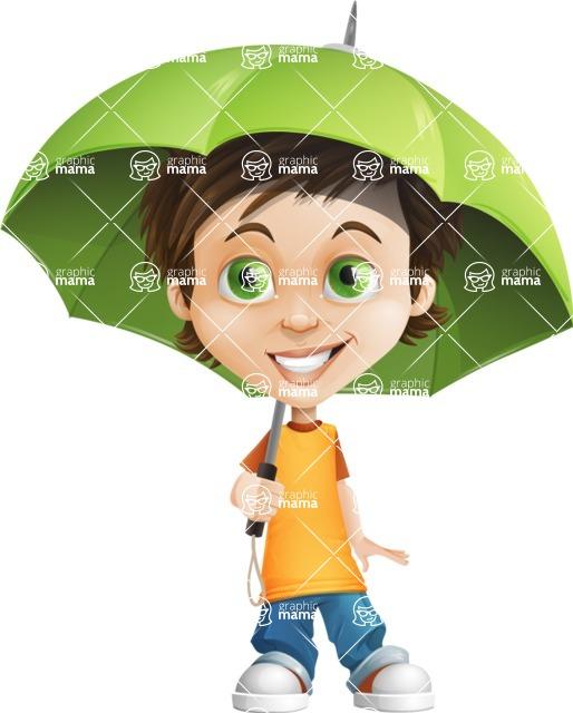 Cool Boy Cartoon Vector Character AKA Jamie Just-Chill - Umbrella