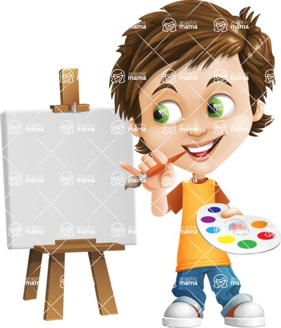 Cool Boy Cartoon Vector Character AKA Jamie Just-Chill - Painting