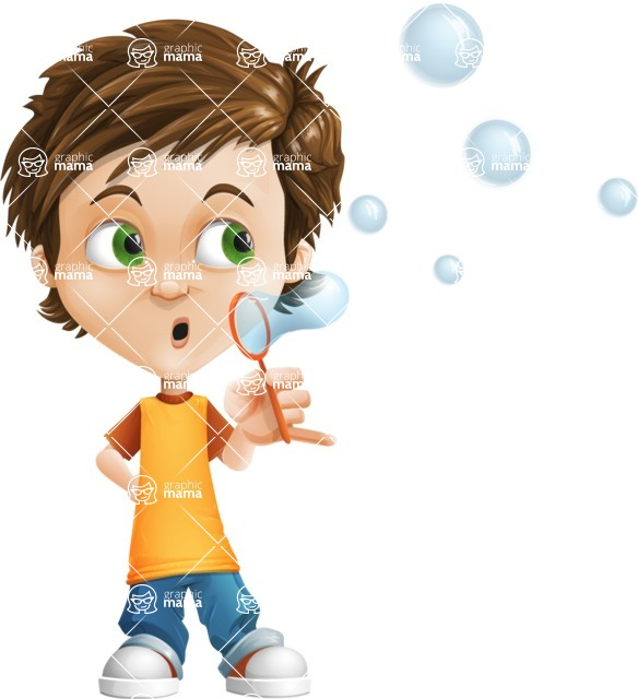 Cool Boy Cartoon Vector Character AKA Jamie Just-Chill - Soap Bubbles