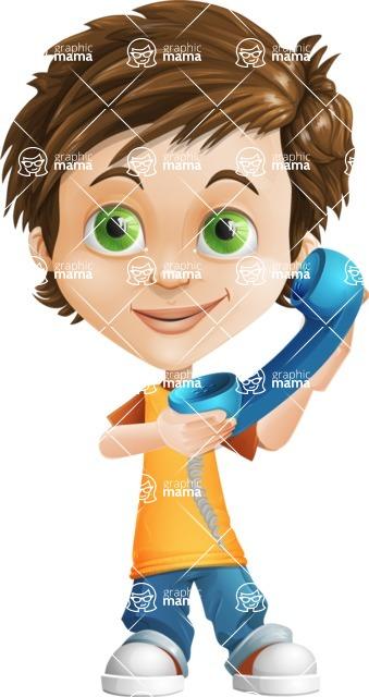 Cool Boy Cartoon Vector Character AKA Jamie Just-Chill - Phone