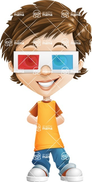 Cool Boy Cartoon Vector Character AKA Jamie Just-Chill - 3D Glasses