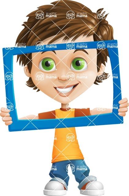 Cool Boy Cartoon Vector Character AKA Jamie Just-Chill - Frame