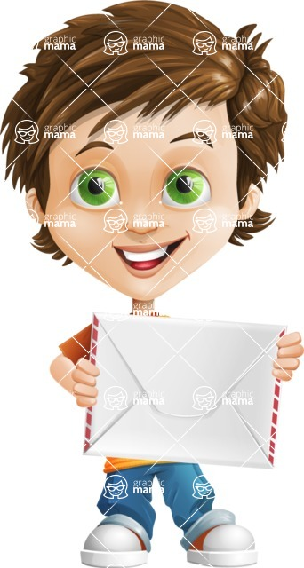 Cool Boy Cartoon Vector Character AKA Jamie Just-Chill - Letter