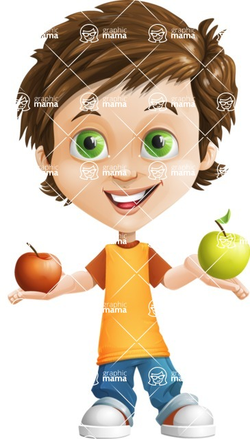 Cool Boy Cartoon Vector Character AKA Jamie Just-Chill - Apples