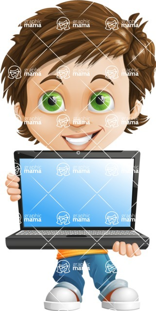 Cool Boy Cartoon Vector Character AKA Jamie Just-Chill - Laptop 1