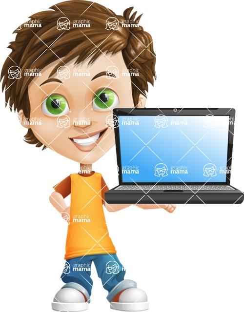 Cool Boy Cartoon Vector Character AKA Jamie Just-Chill - Laptop 2