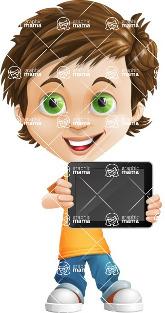 Cool Boy Cartoon Vector Character AKA Jamie Just-Chill - iPad 2