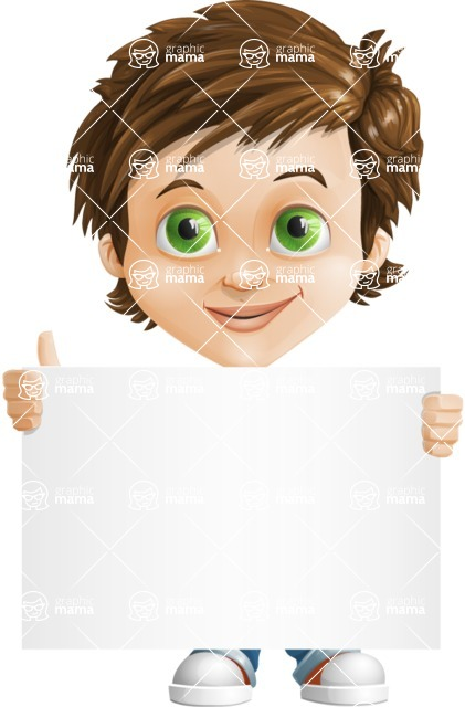Cool Boy Cartoon Vector Character AKA Jamie Just-Chill - Sign 1