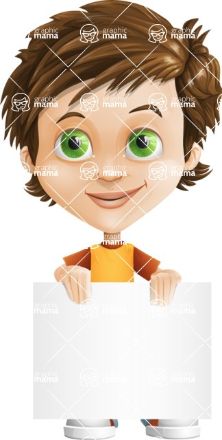 Cool Boy Cartoon Vector Character AKA Jamie Just-Chill - Sign 2