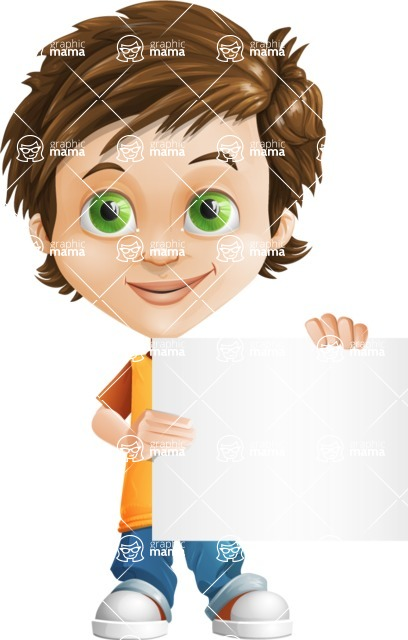 Cool Boy Cartoon Vector Character AKA Jamie Just-Chill - Sign 3