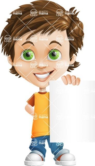 Cool Boy Cartoon Vector Character AKA Jamie Just-Chill - Sign 4