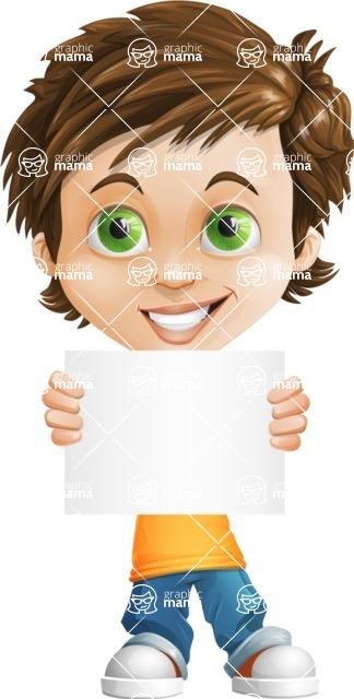 Cool Boy Cartoon Vector Character AKA Jamie Just-Chill - Sign 5