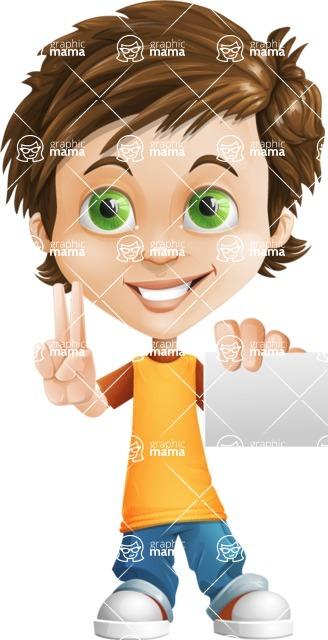 Cool Boy Cartoon Vector Character AKA Jamie Just-Chill - Sign 6