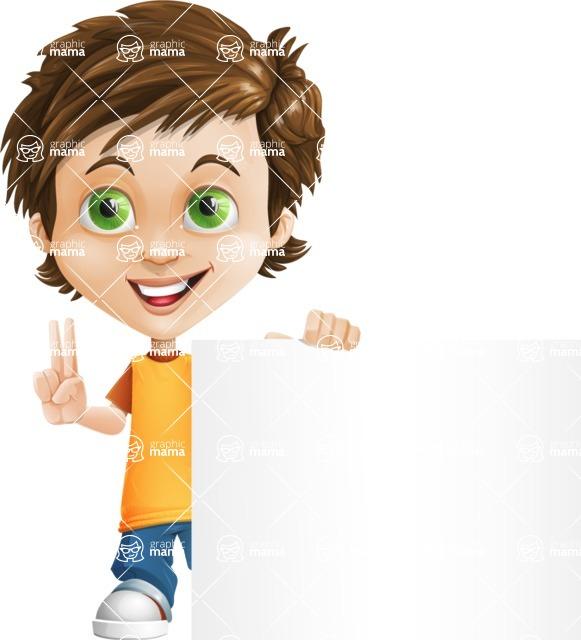 Cool Boy Cartoon Vector Character AKA Jamie Just-Chill - Sign 7