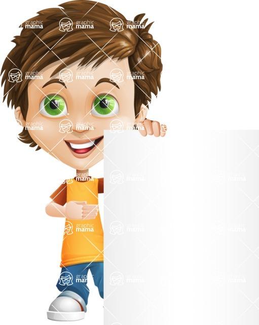Cool Boy Cartoon Vector Character AKA Jamie Just-Chill - Sign 8