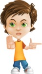 Cool Boy Cartoon Vector Character AKA Jamie Just-Chill - Direct Attention