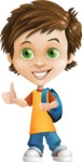 Cool Boy Cartoon Vector Character AKA Jamie Just-Chill - Backpack