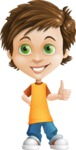 Cool Boy Cartoon Vector Character AKA Jamie Just-Chill - Thumbs Up